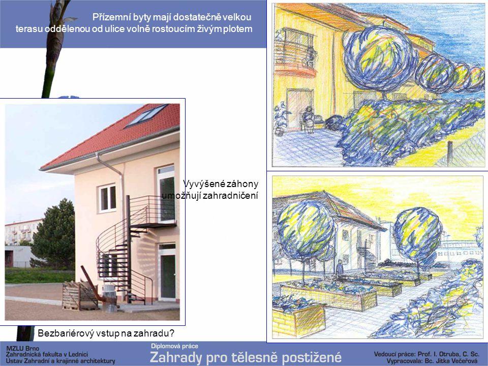 Bezbariérový vstup na zahradu? Přízemní byty mají dostatečně velkou terasu oddělenou od ulice volně rostoucím živým plotem Vyvýšené záhony umožňují za
