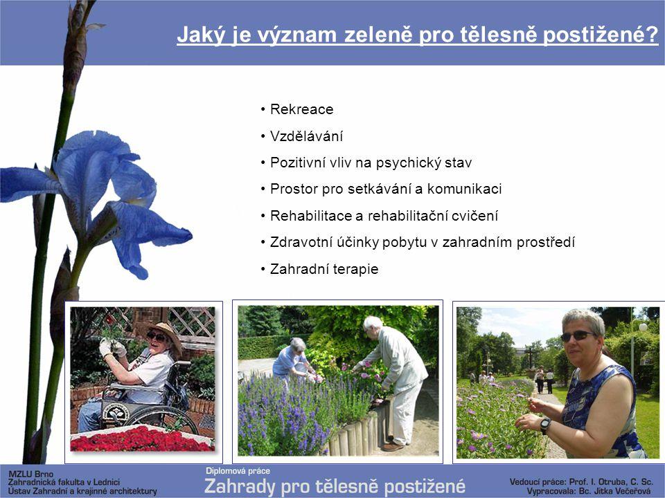 Jaký je význam zeleně pro tělesně postižené? Rekreace Vzdělávání Pozitivní vliv na psychický stav Prostor pro setkávání a komunikaci Rehabilitace a re