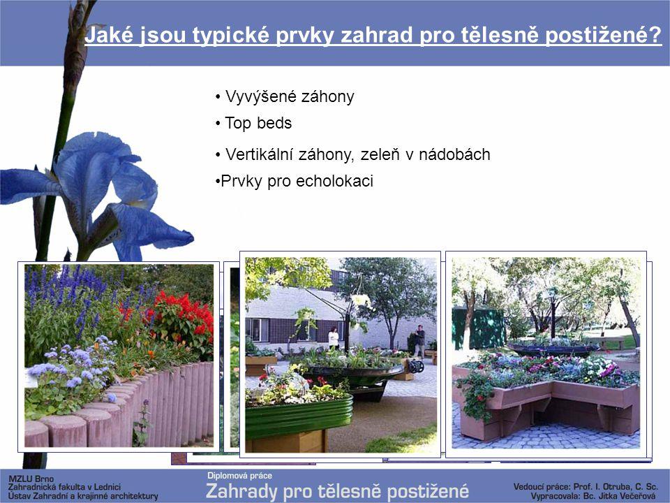 Jaké jsou typické prvky zahrad pro tělesně postižené? Vyvýšené záhony Top beds Vertikální záhony, zeleň v nádobách Prvky pro echolokaci