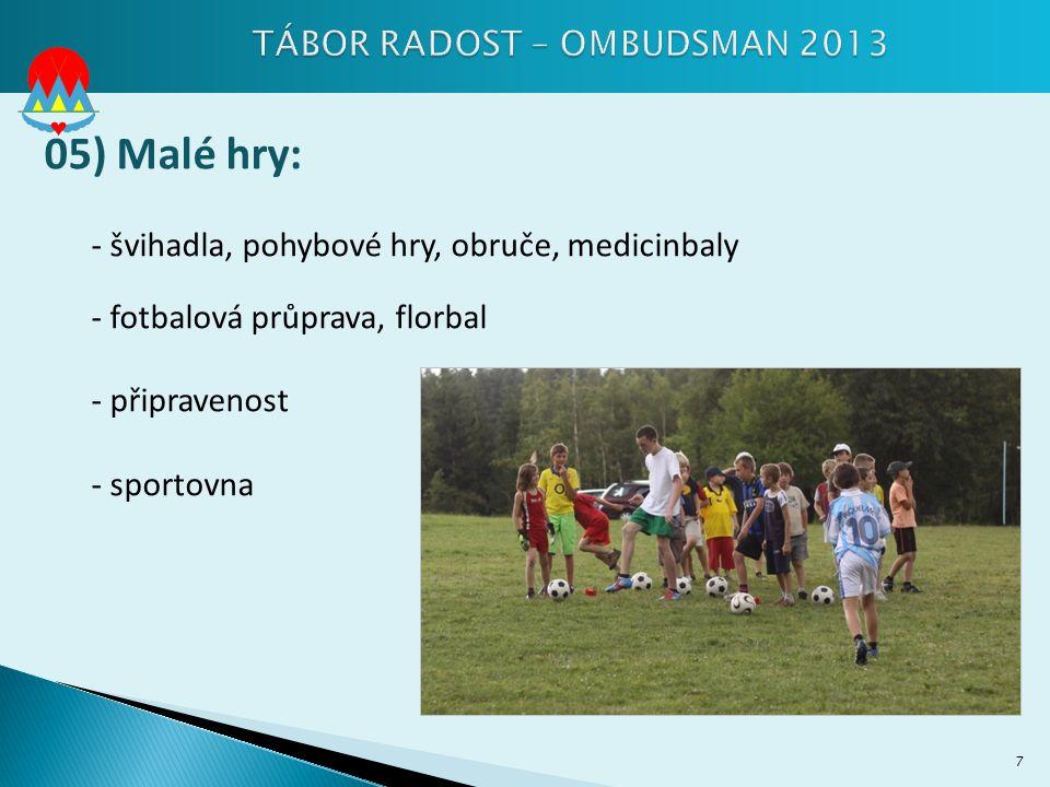 05) Malé hry: - švihadla, pohybové hry, obruče, medicinbaly - fotbalová průprava, florbal - připravenost - sportovna 7