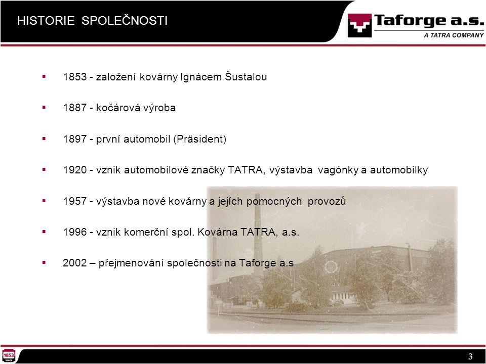 HISTORIE SPOLEČNOSTI 3  1853 - založení kovárny Ignácem Šustalou  1887 - kočárová výroba  1897 - první automobil (Präsident)  1920 - vznik automobilové značky TATRA, výstavba vagónky a automobilky  1957 - výstavba nové kovárny a jejích pomocných provozů  1996 - vznik komerční spol.