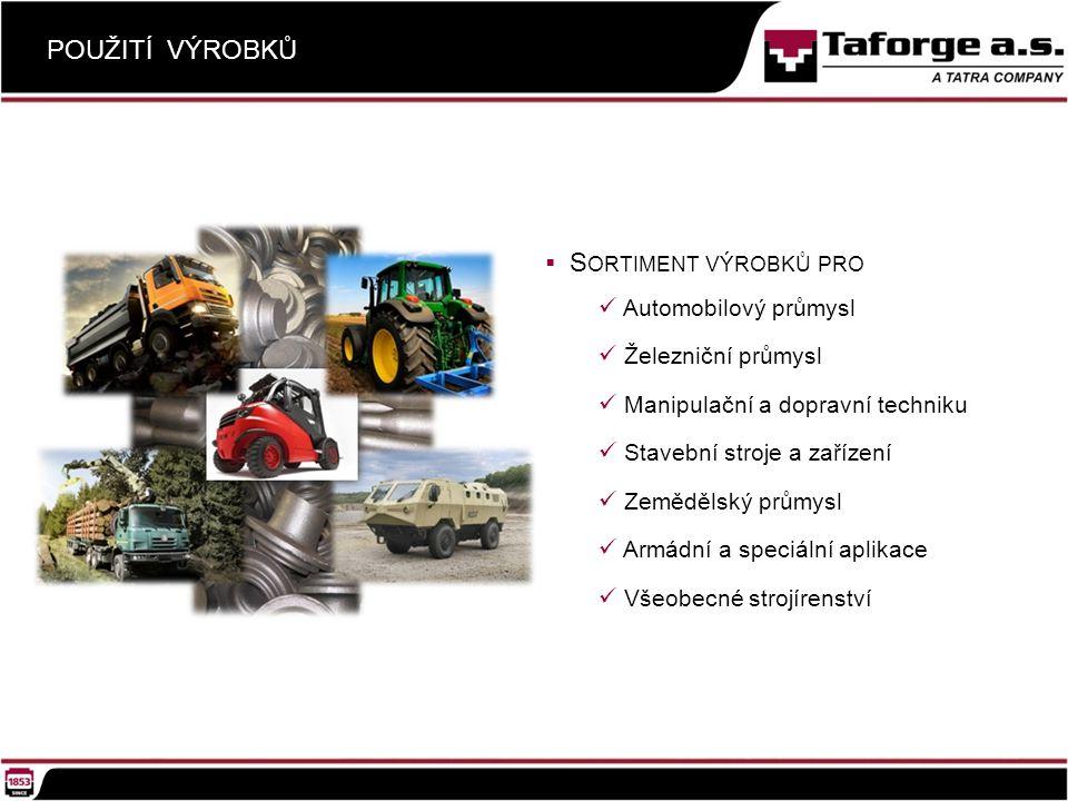 POUŽITÍ VÝROBKŮ  S ORTIMENT VÝROBKŮ PRO Automobilový průmysl Železniční průmysl Manipulační a dopravní techniku Stavební stroje a zařízení Zemědělský průmysl Armádní a speciální aplikace Všeobecné strojírenství