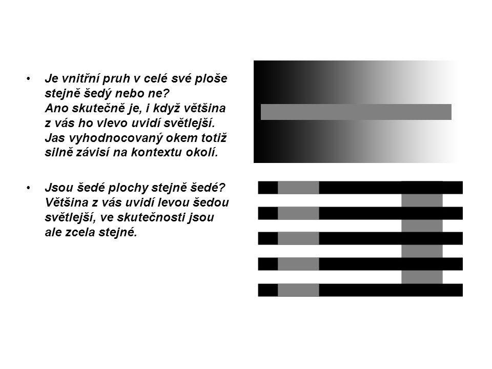 Je vnitřní pruh v celé své ploše stejně šedý nebo ne? Ano skutečně je, i když většina z vás ho vlevo uvidí světlejší. Jas vyhodnocovaný okem totiž sil