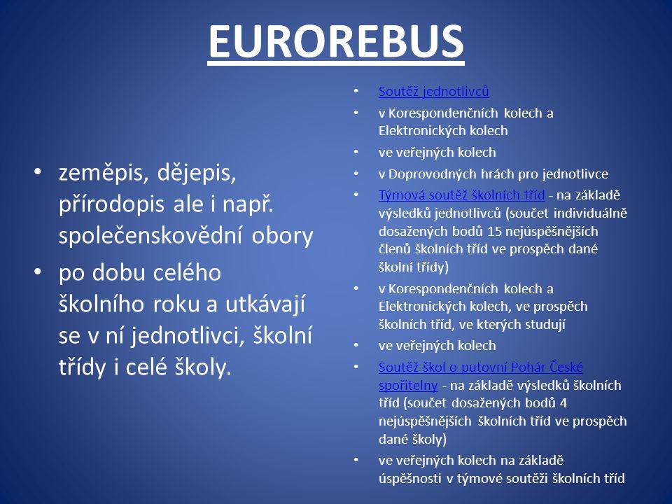 EUROREBUS zeměpis, dějepis, přírodopis ale i např. společenskovědní obory po dobu celého školního roku a utkávají se v ní jednotlivci, školní třídy i