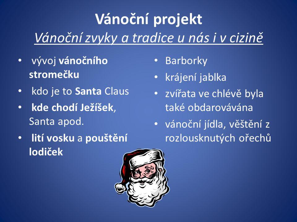 Vánoční projekt Vánoční zvyky a tradice u nás i v cizině vývoj vánočního stromečku kdo je to Santa Claus kde chodí Ježíšek, Santa apod. lití vosku a p
