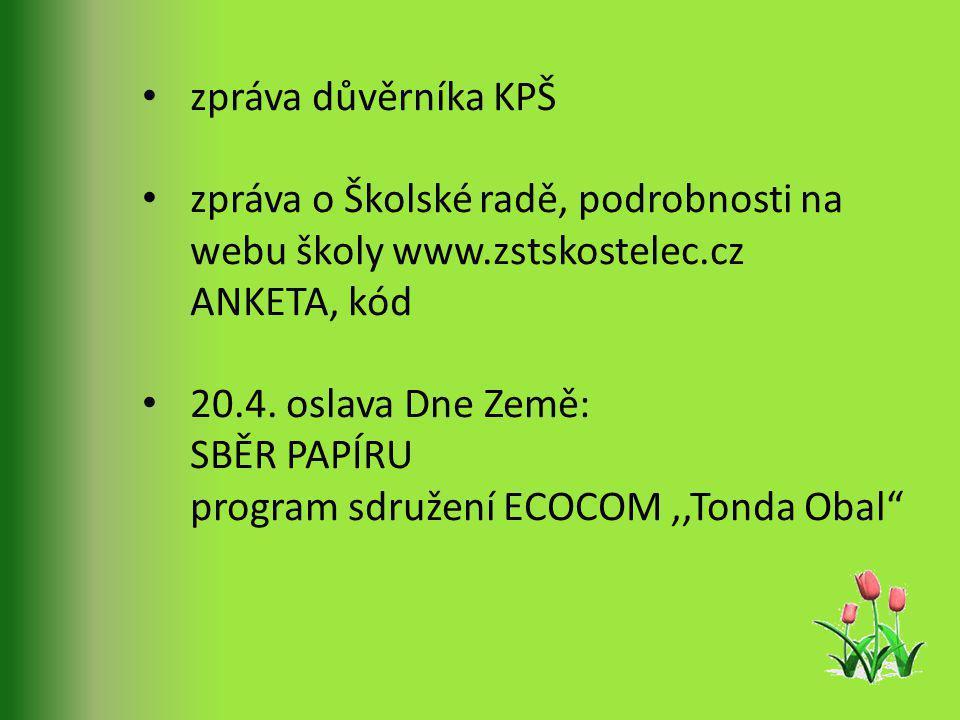 zpráva důvěrníka KPŠ zpráva o Školské radě, podrobnosti na webu školy www.zstskostelec.cz ANKETA, kód 20.4.
