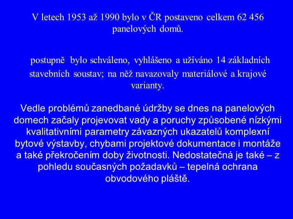 V letech 1953 až 1990 bylo v ČR postaveno celkem 62 456 panelových domů.
