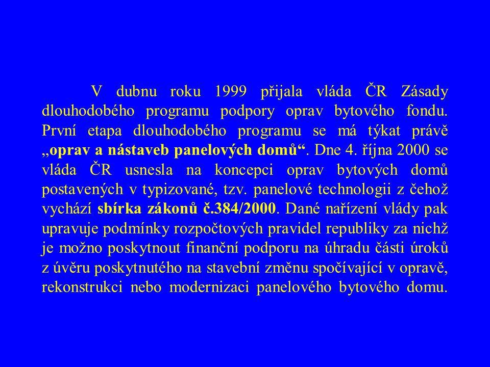 V dubnu roku 1999 přijala vláda ČR Zásady dlouhodobého programu podpory oprav bytového fondu.