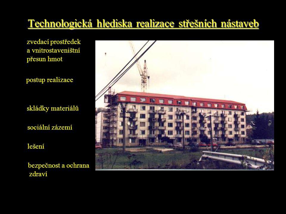 Technologická hlediska realizace střešních nástaveb bezpečnost a ochrana zdraví zvedací prostředek a vnitrostaveništní přesun hmot postup realizace skládky materiálů sociální zázemí lešení