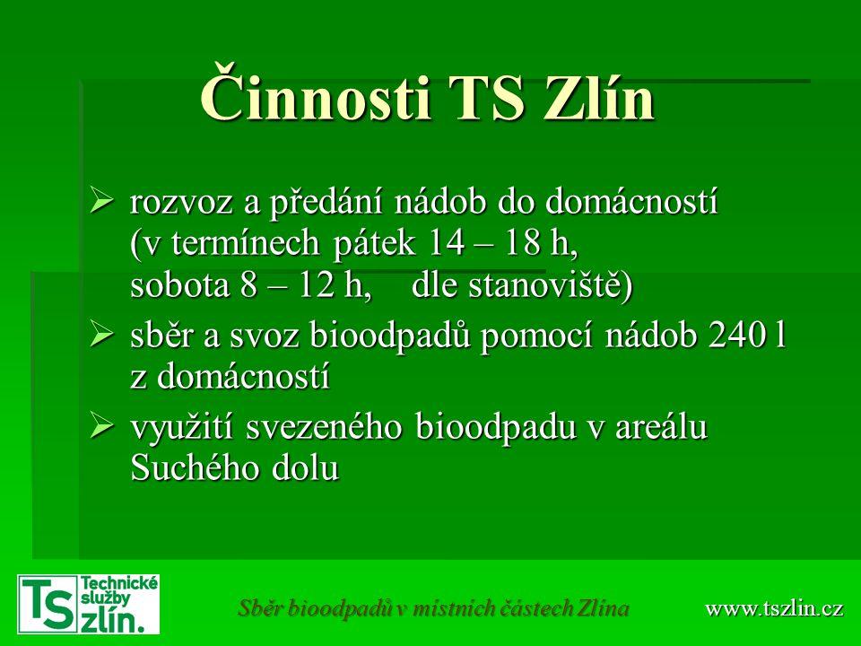 Nádoby na BRKO www.tszlin.cz Sběr bioodpadů Údržbu, opravy, případně výměnu nádob zajišťují Technické služby Zlín Telefon: 577 111 411 E-mail: info@tszlin.cz