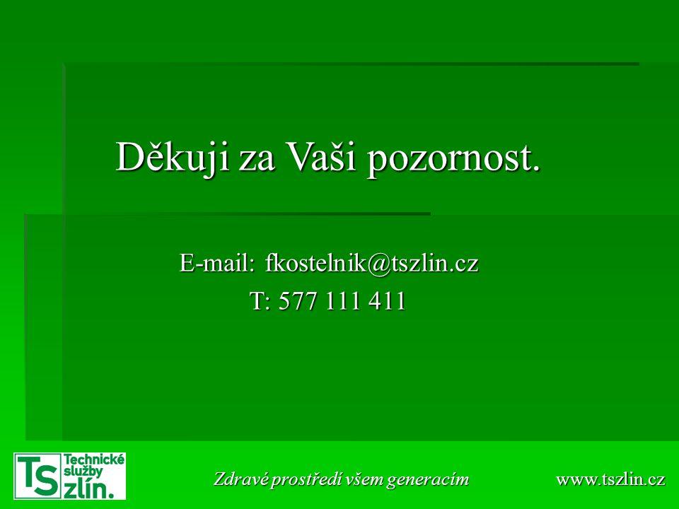 Děkuji za Vaši pozornost. E-mail: fkostelnik@tszlin.cz T: 577 111 411 www.tszlin.cz Zdravé prostředí všem generacím