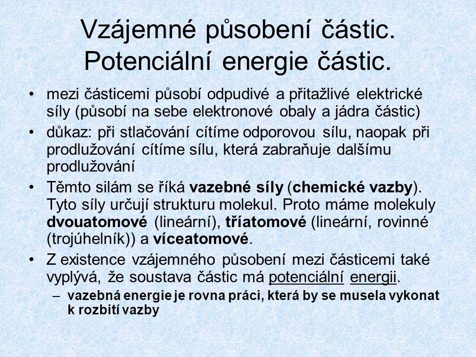 Vzájemné působení částic. Potenciální energie částic. mezi částicemi působí odpudivé a přitažlivé elektrické síly (působí na sebe elektronové obaly a