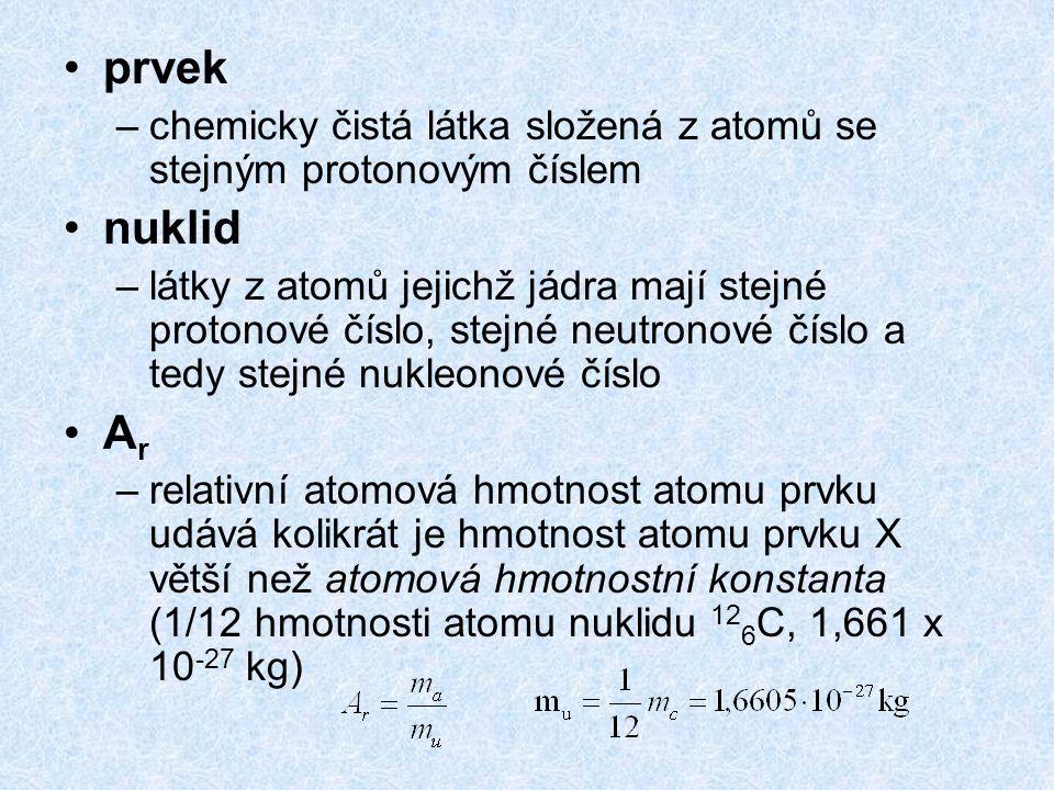 prvek –chemicky čistá látka složená z atomů se stejným protonovým číslem nuklid –látky z atomů jejichž jádra mají stejné protonové číslo, stejné neutr