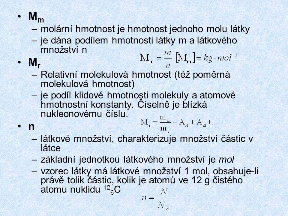 M m –molární hmotnost je hmotnost jednoho molu látky –je dána podílem hmotnosti látky m a látkového množství n M r –Relativní molekulová hmotnost (též