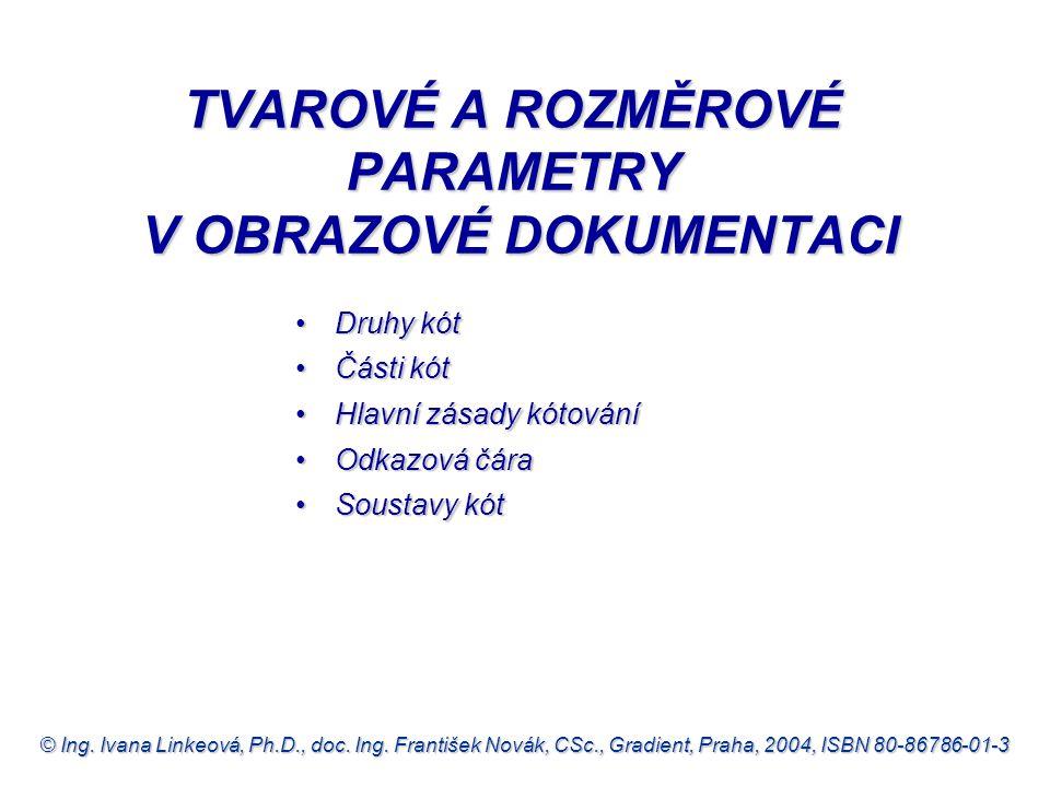© Ing. Ivana Linkeová, Ph.D., doc. Ing. František Novák, CSc., Gradient, Praha, 2004, ISBN 80-86786-01-3 TVAROVÉ A ROZMĚROVÉ PARAMETRY V OBRAZOVÉ DOKU