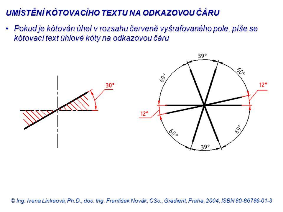 © Ing. Ivana Linkeová, Ph.D., doc. Ing. František Novák, CSc., Gradient, Praha, 2004, ISBN 80-86786-01-3 UMÍSTĚNÍ KÓTOVACÍHO TEXTU NA ODKAZOVOU ČÁRU P