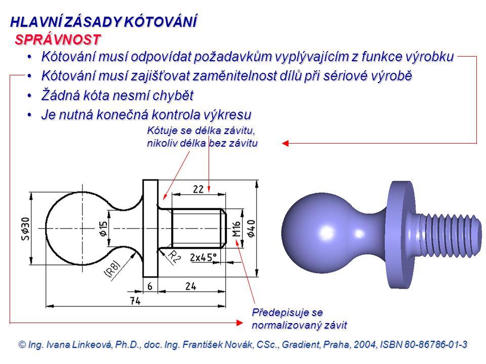 © Ing. Ivana Linkeová, Ph.D., doc. Ing. František Novák, CSc., Gradient, Praha, 2004, ISBN 80-86786-01-3 HLAVNÍ ZÁSADY KÓTOVÁNÍ Kótování musí odpovída
