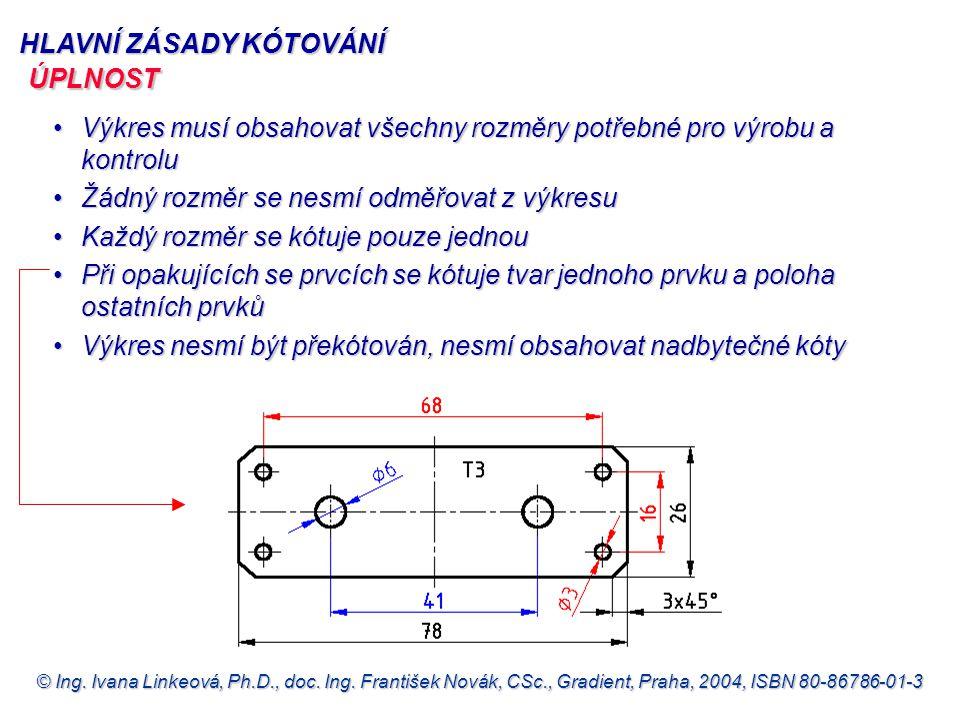 © Ing. Ivana Linkeová, Ph.D., doc. Ing. František Novák, CSc., Gradient, Praha, 2004, ISBN 80-86786-01-3 HLAVNÍ ZÁSADY KÓTOVÁNÍ Výkres musí obsahovat