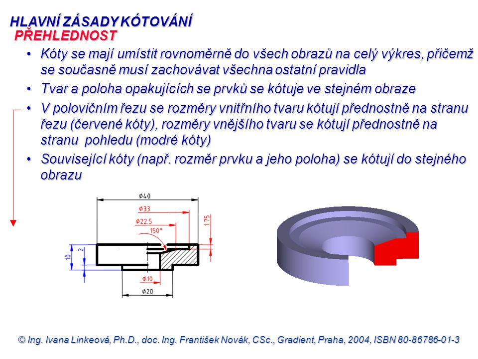 © Ing. Ivana Linkeová, Ph.D., doc. Ing. František Novák, CSc., Gradient, Praha, 2004, ISBN 80-86786-01-3 HLAVNÍ ZÁSADY KÓTOVÁNÍ Kóty se mají umístit r