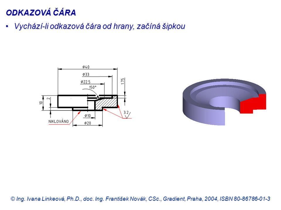 © Ing. Ivana Linkeová, Ph.D., doc. Ing. František Novák, CSc., Gradient, Praha, 2004, ISBN 80-86786-01-3 ODKAZOVÁ ČÁRA Vychází-li odkazová čára od hra
