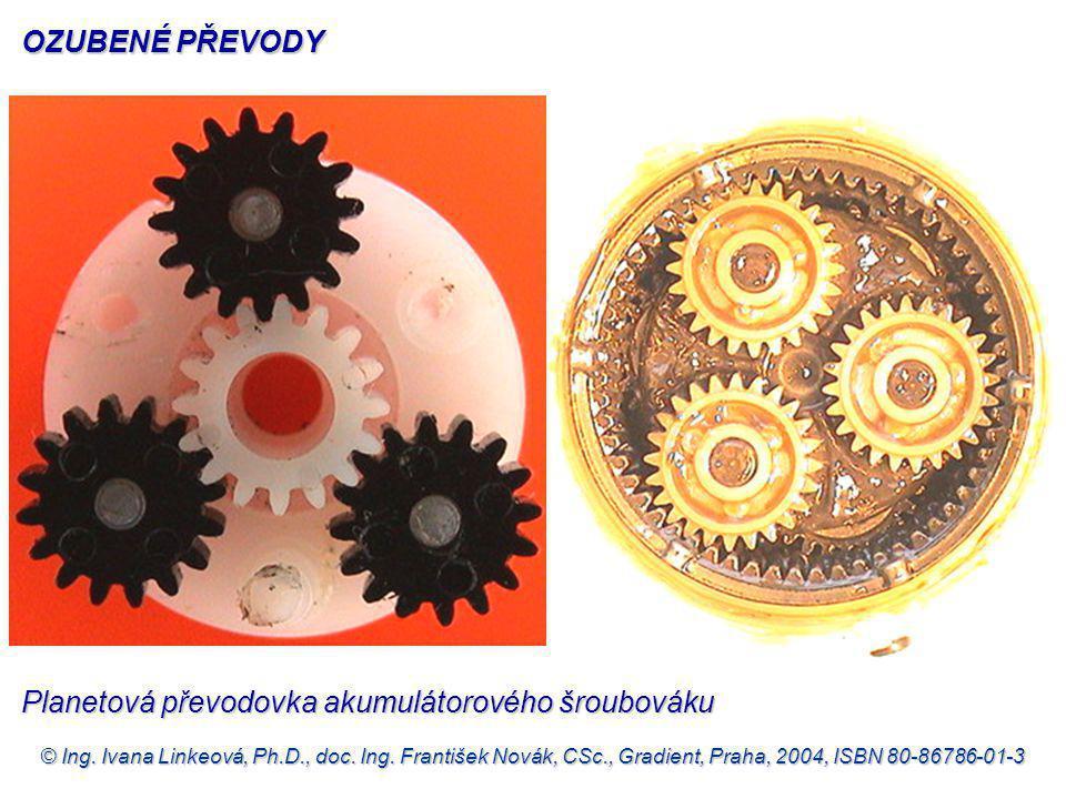 © Ing. Ivana Linkeová, Ph.D., doc. Ing. František Novák, CSc., Gradient, Praha, 2004, ISBN 80-86786-01-3 Planetová převodovka akumulátorového šroubová