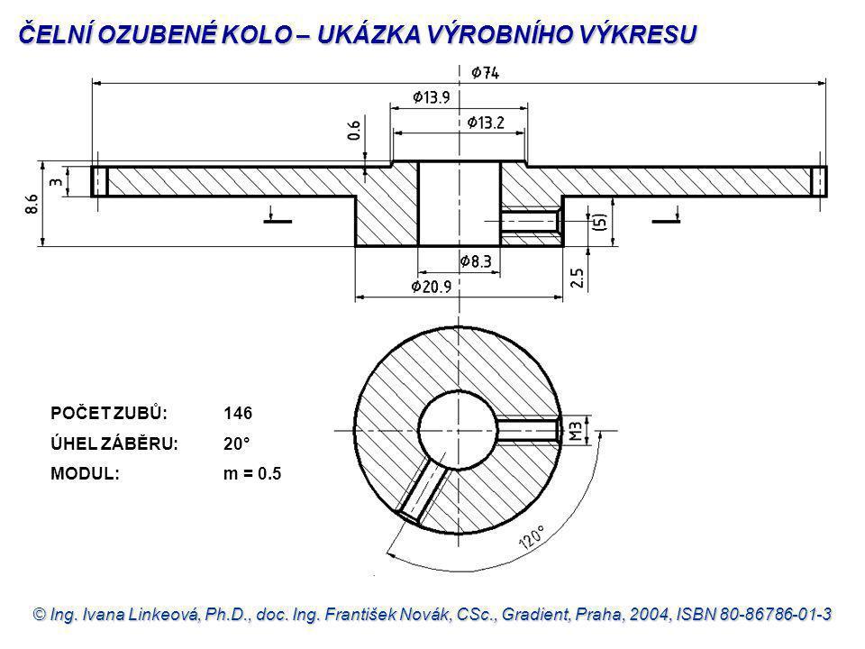 © Ing. Ivana Linkeová, Ph.D., doc. Ing. František Novák, CSc., Gradient, Praha, 2004, ISBN 80-86786-01-3 POČET ZUBŮ: 146 ÚHEL ZÁBĚRU: 20° MODUL: m = 0