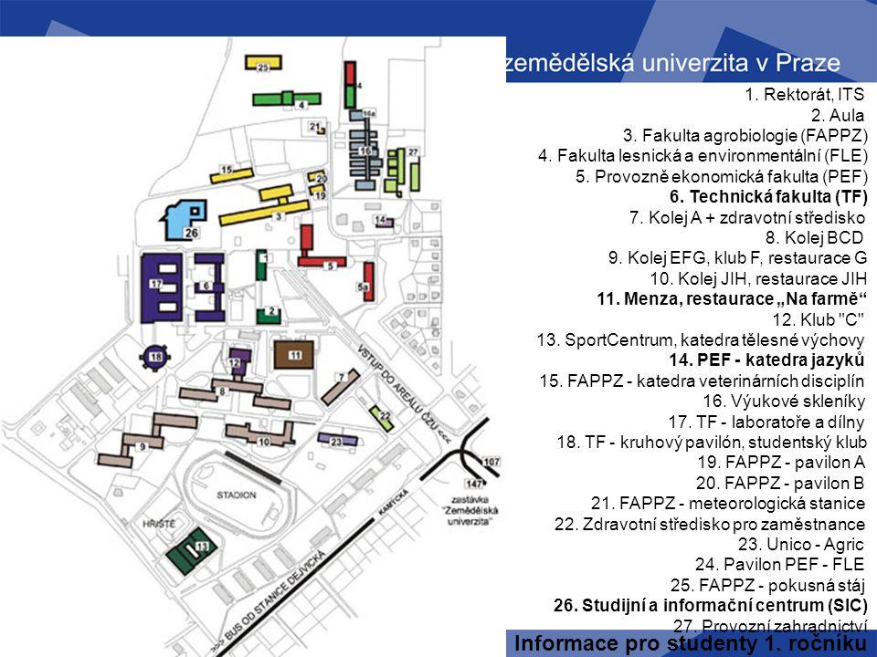 Informace pro studenty 1. ročníku Mapa ČZU 1. Rektorát, ITS 2. Aula 3. Fakulta agrobiologie (FAPPZ) 4. Fakulta lesnická a environmentální (FLE) 5. Pro