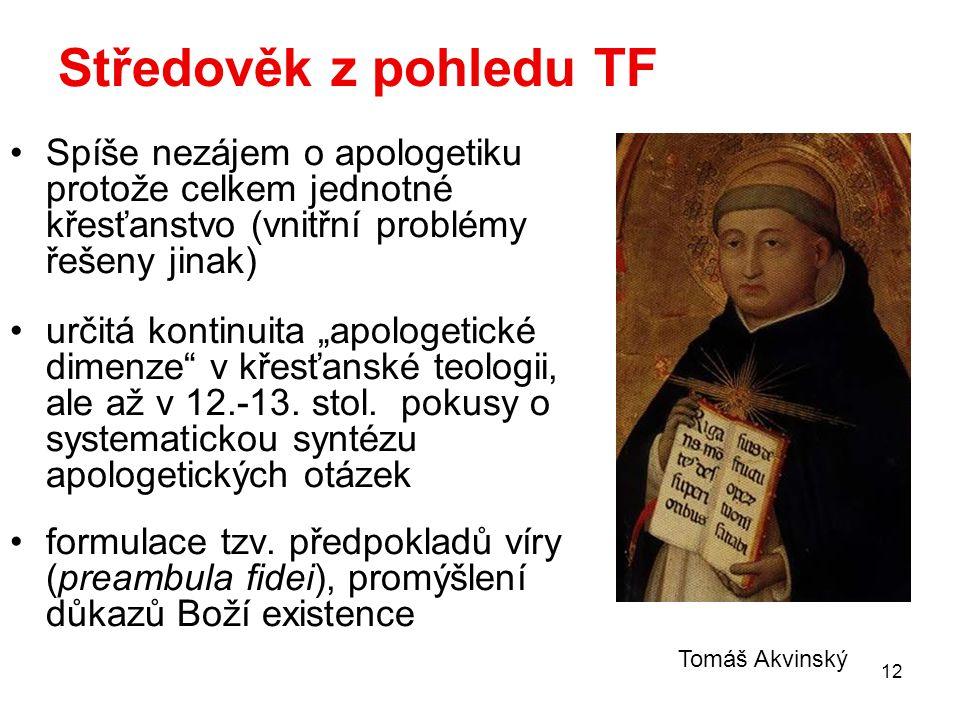 """12 Středověk z pohledu TF Spíše nezájem o apologetiku protože celkem jednotné křesťanstvo (vnitřní problémy řešeny jinak) určitá kontinuita """"apologeti"""