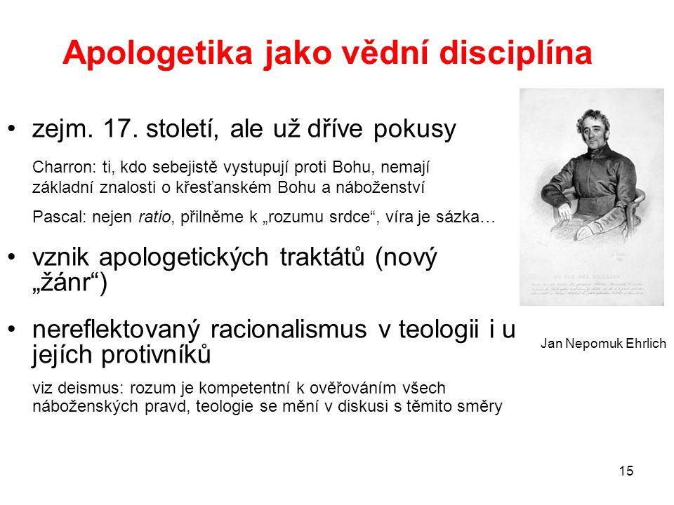 15 Apologetika jako vědní disciplína zejm. 17. století, ale už dříve pokusy Charron: ti, kdo sebejistě vystupují proti Bohu, nemají základní znalosti