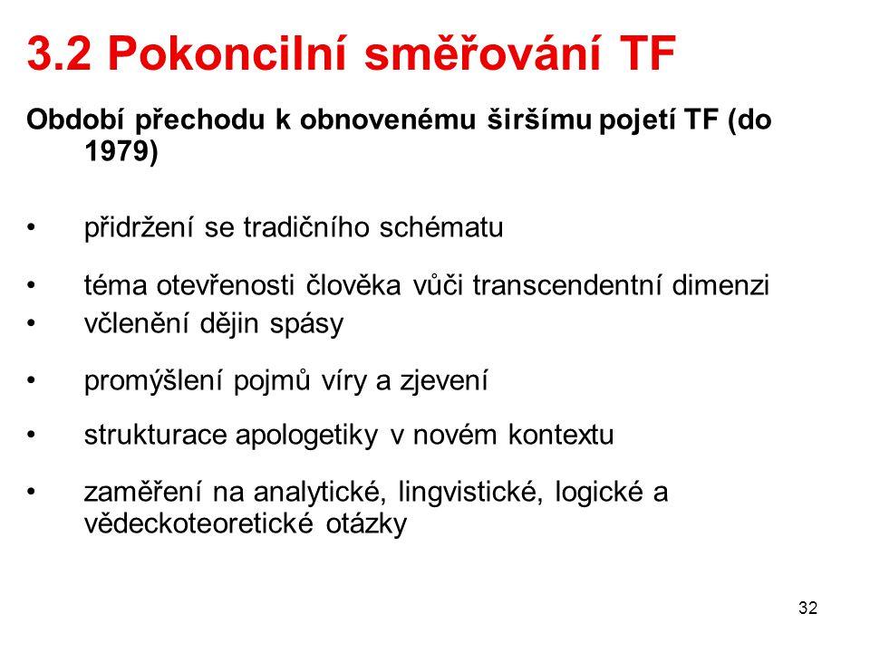 32 3.2 Pokoncilní směřování TF Období přechodu k obnovenému širšímu pojetí TF (do 1979) přidržení se tradičního schématu téma otevřenosti člověka vůči