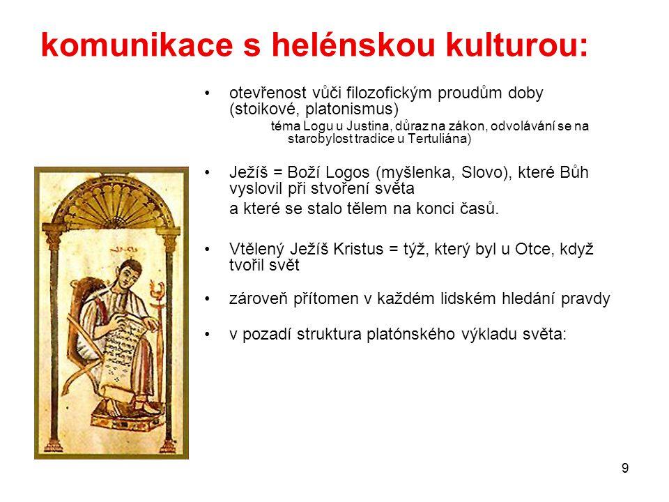 9 komunikace s helénskou kulturou: otevřenost vůči filozofickým proudům doby (stoikové, platonismus) téma Logu u Justina, důraz na zákon, odvolávání s