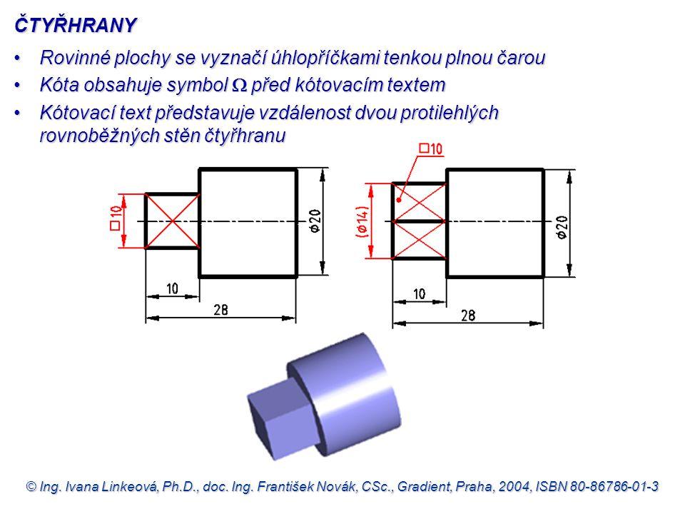 © Ing. Ivana Linkeová, Ph.D., doc. Ing. František Novák, CSc., Gradient, Praha, 2004, ISBN 80-86786-01-3 Rovinné plochy se vyznačí úhlopříčkami tenkou