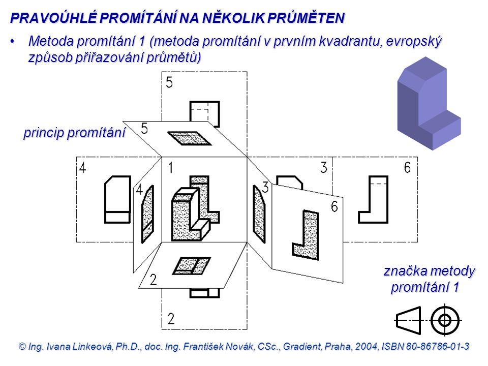 © Ing. Ivana Linkeová, Ph.D., doc. Ing. František Novák, CSc., Gradient, Praha, 2004, ISBN 80-86786-01-3 Metoda promítání 1 (metoda promítání v prvním