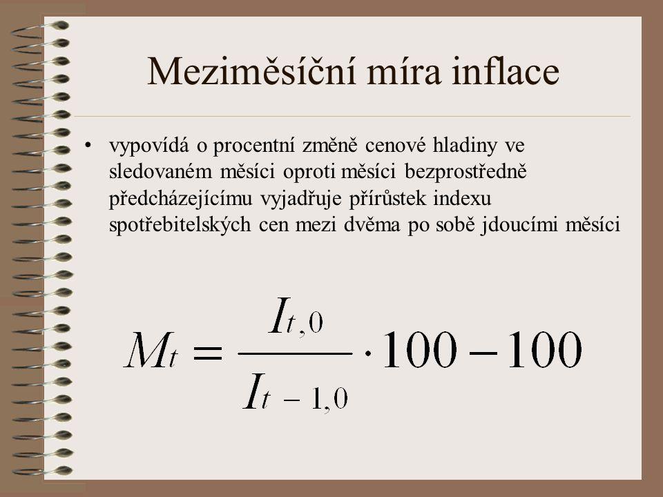 Míra inflace Mírou inflace rozumíme přírůstek indexu spotřebitelských cen Každý měsíc konstruujeme –meziměsíční míru inflace –meziroční míru inflace –průměrnou roční míru inflace