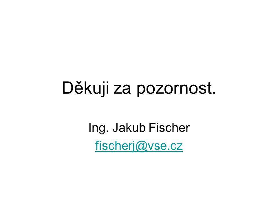 Děkuji za pozornost. Ing. Jakub Fischer fischerj@vse.cz