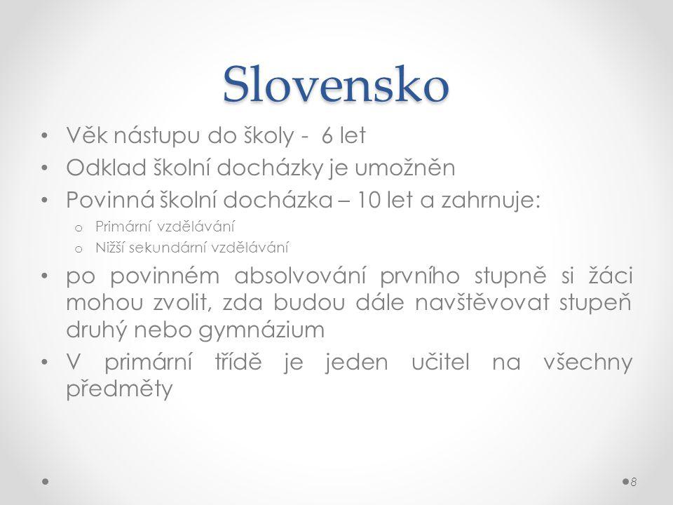 Slovensko Věk nástupu do školy - 6 let Odklad školní docházky je umožněn Povinná školní docházka – 10 let a zahrnuje: o Primární vzdělávání o Nižší se