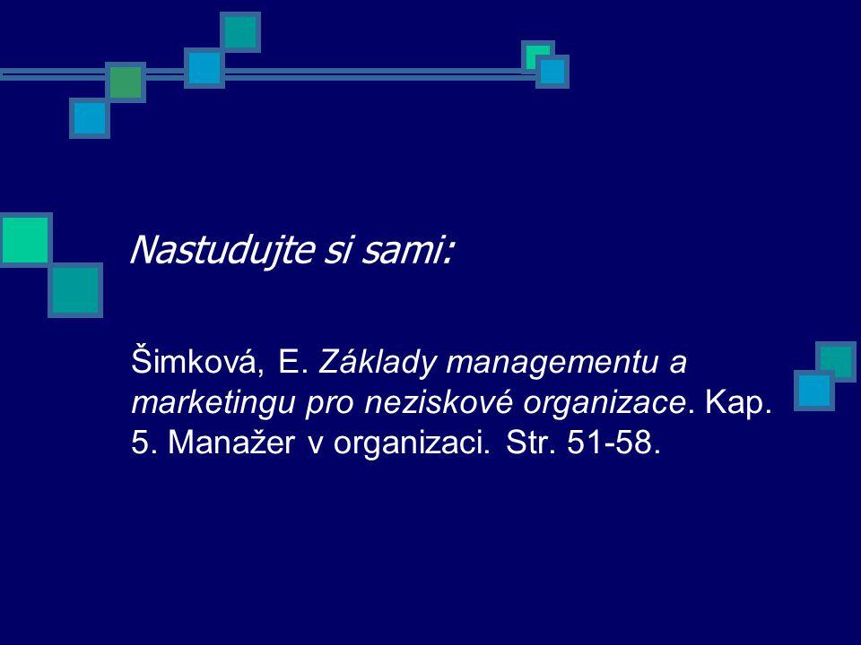 Nastudujte si sami: Šimková, E. Základy managementu a marketingu pro neziskové organizace. Kap. 5. Manažer v organizaci. Str. 51-58.