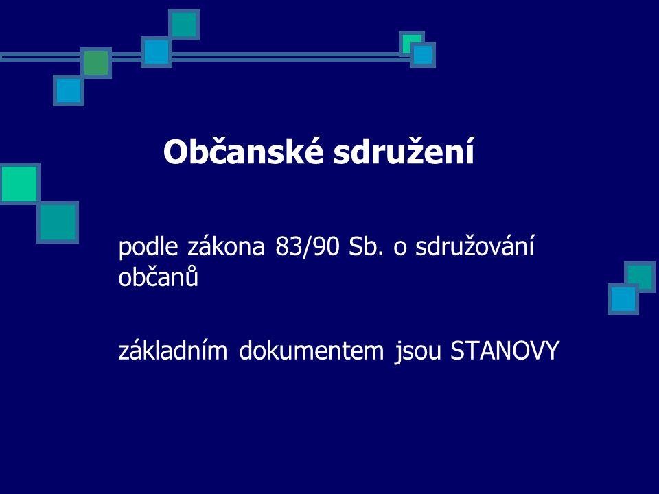 Občanské sdružení podle zákona 83/90 Sb. o sdružování občanů základním dokumentem jsou STANOVY