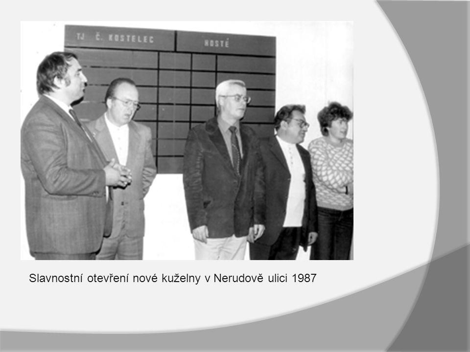 Slavnostní otevření nové kuželny v Nerudově ulici 1987