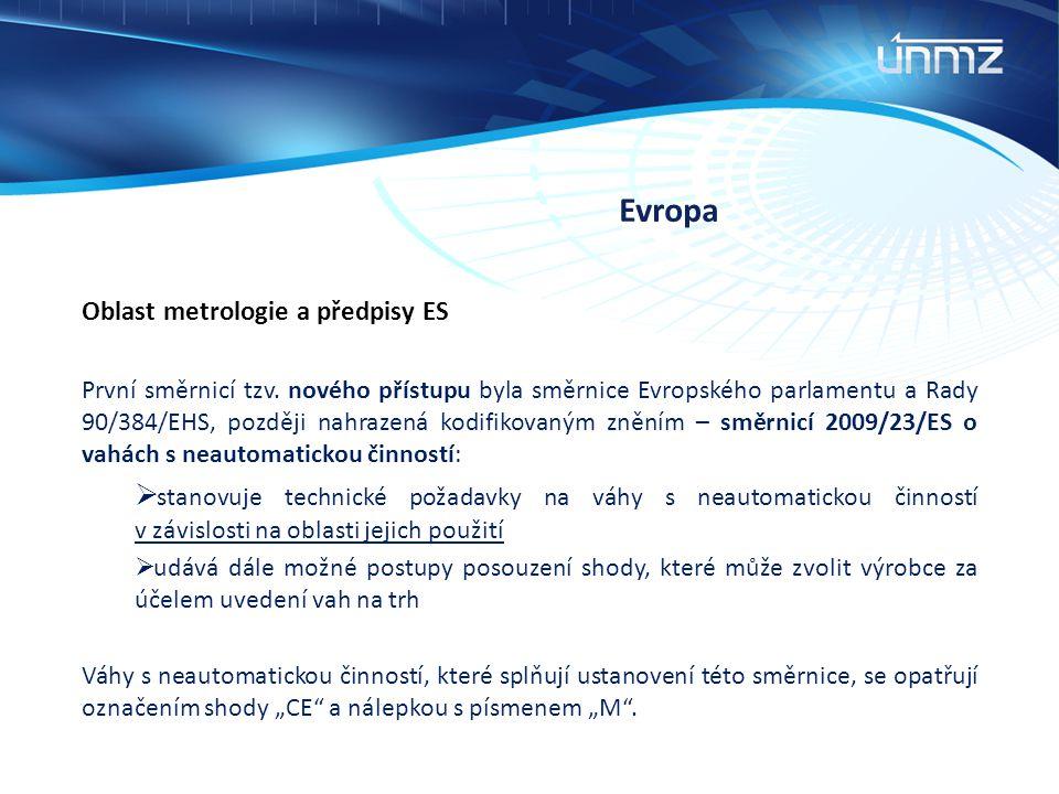 Evropa Oblast metrologie a předpisy ES První směrnicí tzv. nového přístupu byla směrnice Evropského parlamentu a Rady 90/384/EHS, později nahrazená ko