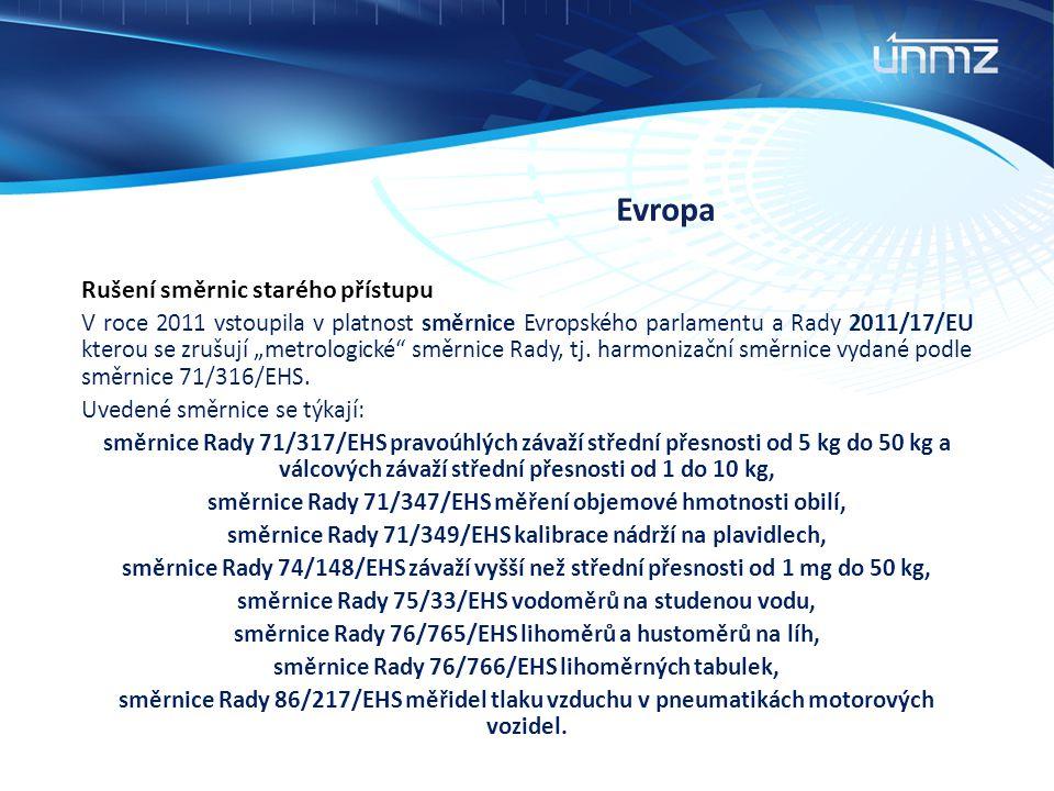 """Evropa Rušení směrnic starého přístupu V roce 2011 vstoupila v platnost směrnice Evropského parlamentu a Rady 2011/17/EU kterou se zrušují """"metrologic"""