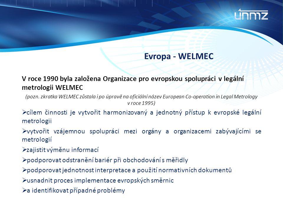 Evropa - WELMEC V roce 1990 byla založena Organizace pro evropskou spolupráci v legální metrologii WELMEC (pozn. zkratka WELMEC zůstala i po úpravě na