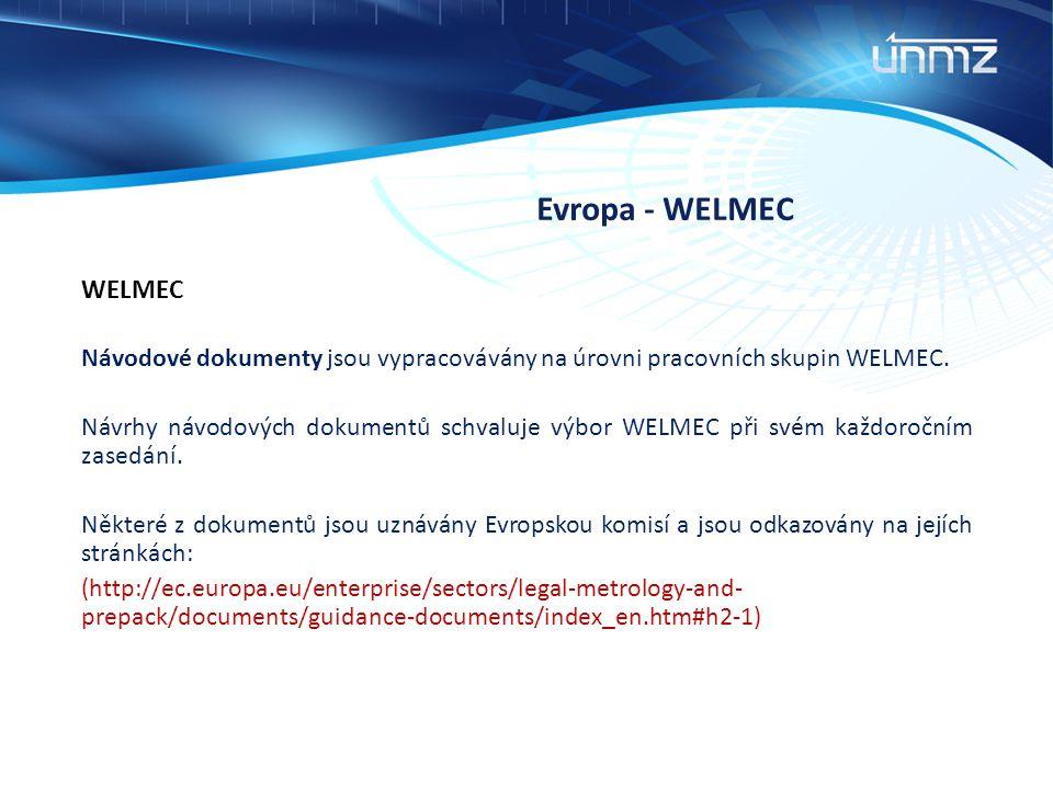 Evropa - WELMEC WELMEC Návodové dokumenty jsou vypracovávány na úrovni pracovních skupin WELMEC. Návrhy návodových dokumentů schvaluje výbor WELMEC př