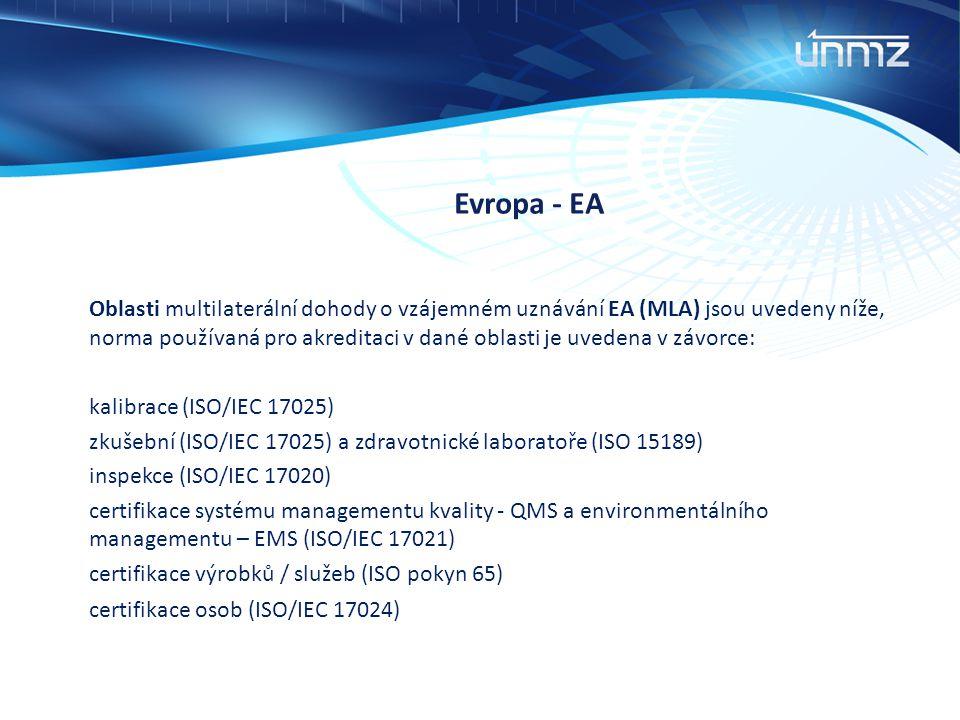 Evropa - EA Oblasti multilaterální dohody o vzájemném uznávání EA (MLA) jsou uvedeny níže, norma používaná pro akreditaci v dané oblasti je uvedena v
