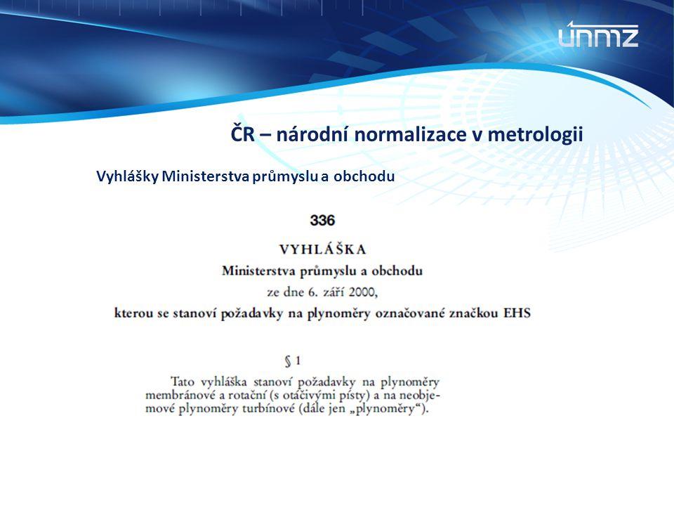 ČR – národní normalizace v metrologii Vyhlášky Ministerstva průmyslu a obchodu