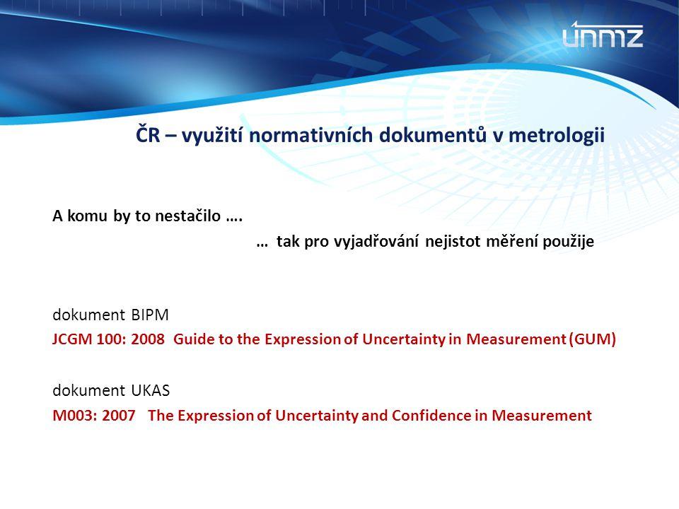 ČR – využití normativních dokumentů v metrologii A komu by to nestačilo …. … tak pro vyjadřování nejistot měření použije dokument BIPM JCGM 100: 2008