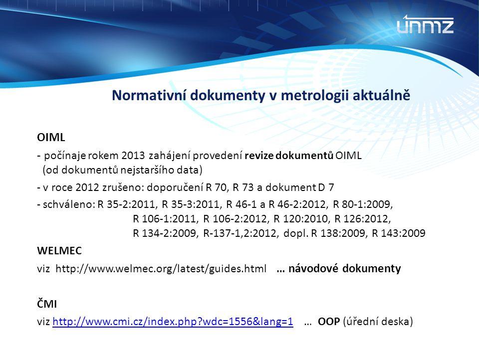 Normativní dokumenty v metrologii aktuálně OIML - počínaje rokem 2013 zahájení provedení revize dokumentů OIML (od dokumentů nejstaršího data) - v roc