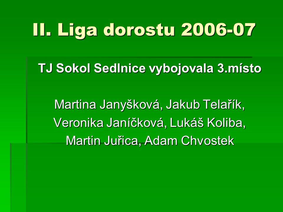 II. Liga dorostu 2006-07 TJ Sokol Sedlnice vybojovala 3.místo Martina Janyšková, Jakub Telařík, Veronika Janíčková, Lukáš Koliba, Martin Juřica, Adam