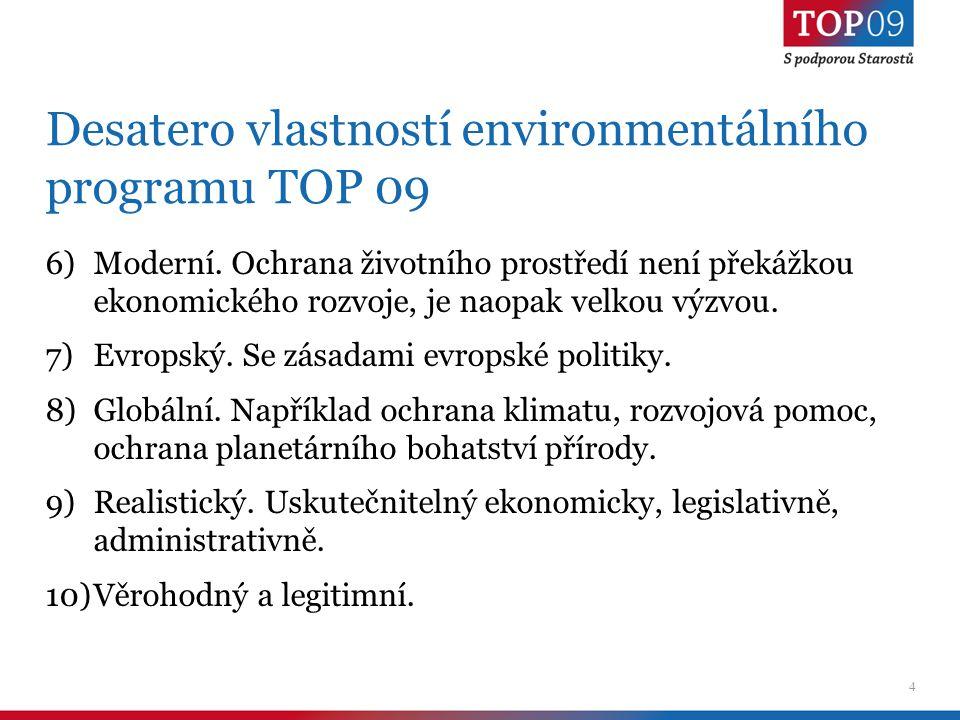 5 Konzervativní pojetí péče o životní prostředí 1)Česká krajina, její kulturní bohatství a přírodní zdroje.