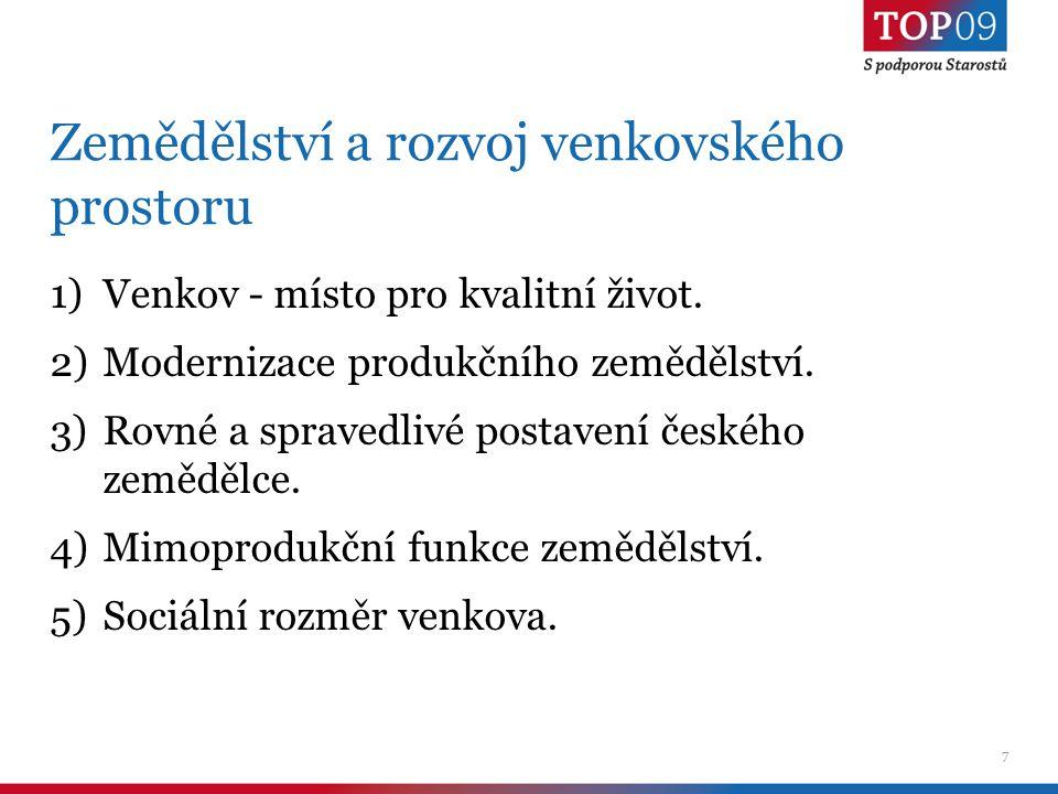 7 Zemědělství a rozvoj venkovského prostoru 1)Venkov - místo pro kvalitní život.
